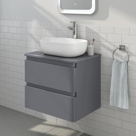 600mm Denver Gloss Grey Countertop Unit Colette Basin Wall Hung