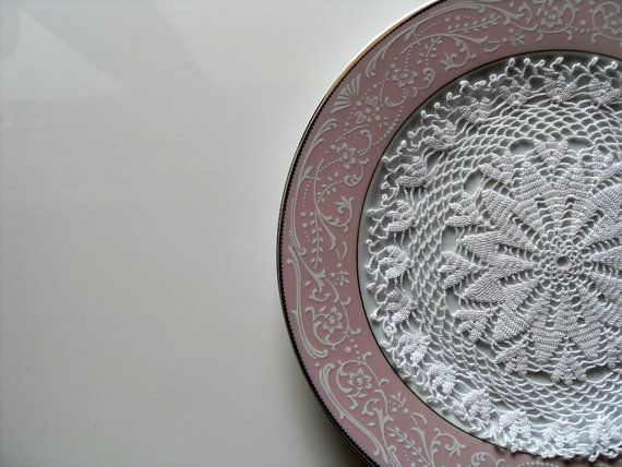 what a tremendous way to display a hand crocheted doily!