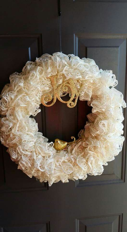 Sashay wreath!! Crochet three scarfs, then attach to foam wreath ...