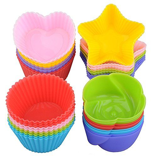 Lunaoo Silicone Cupcake Liners Cake Mold 24 Nonstick Baking Muffin