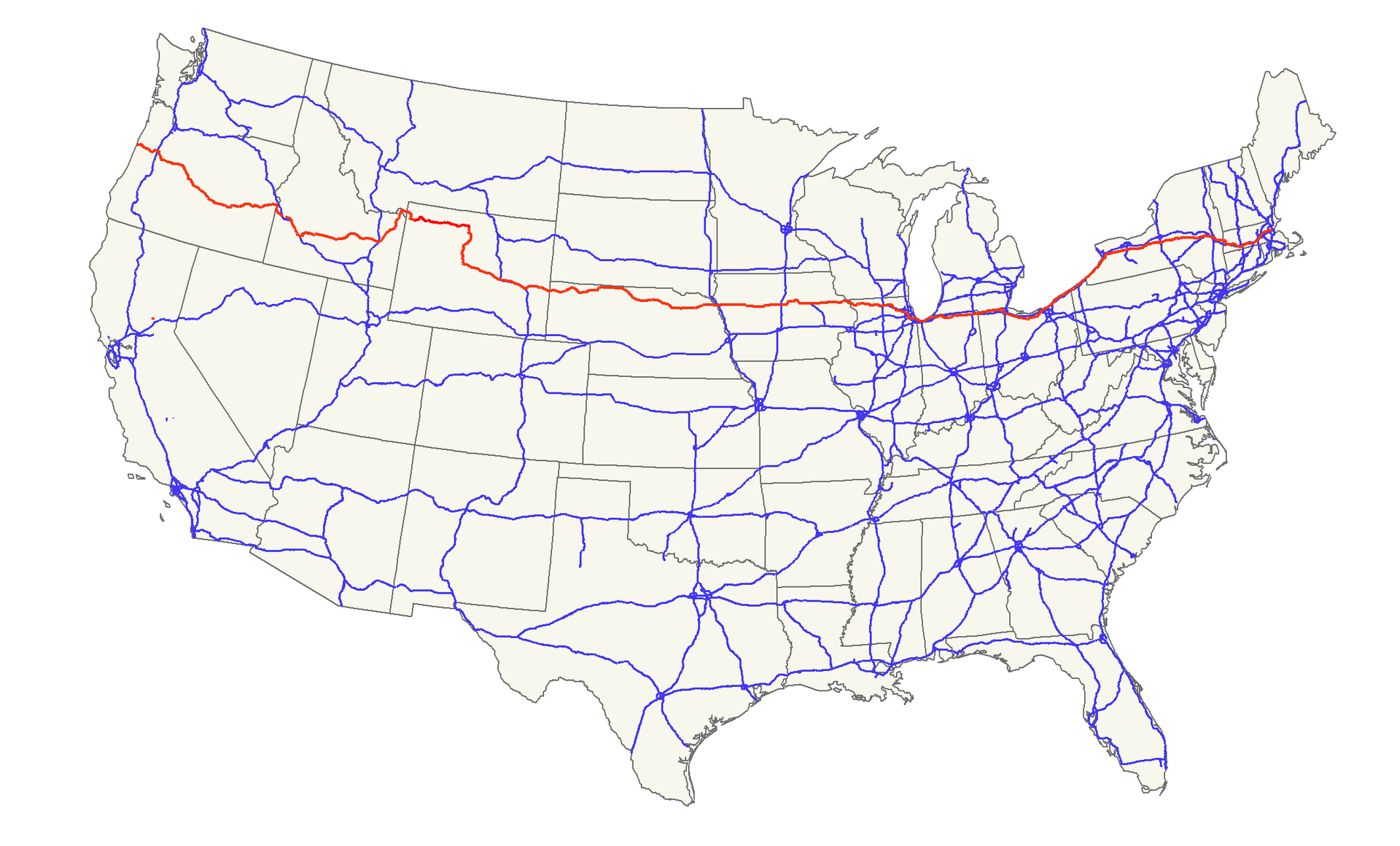 US Map US Route Wikipedia The Free Encyclopedia - Us highway 61 map