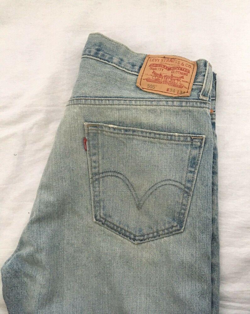 Vintage Blue Levi/'s® 505™ Men's Regular Fit Straight Leg Jeans Size 33x34
