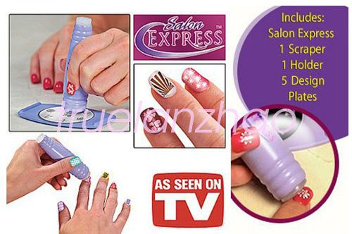 Nail Art Stamping Kit Finger Stencil Salon Express As Seen On Tv