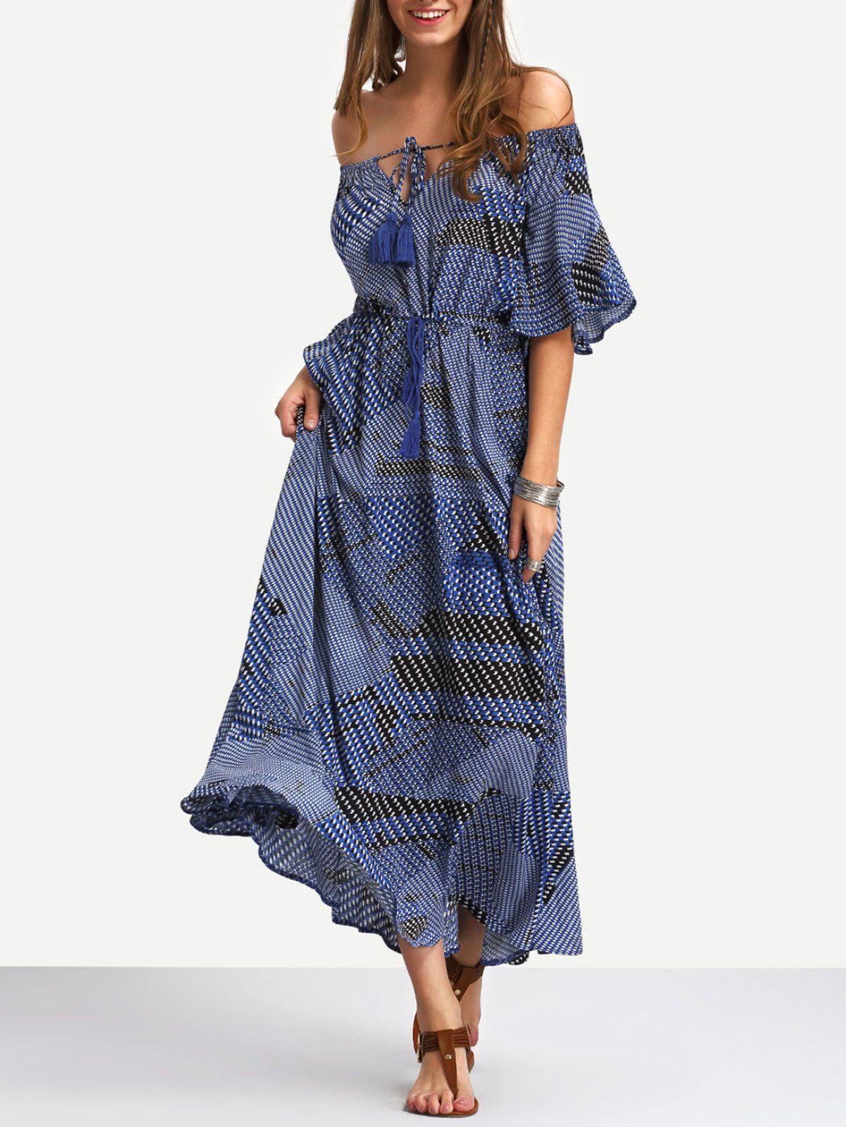 Off the shoulder tiewaist ruffle hem maxi dress maxi dresses