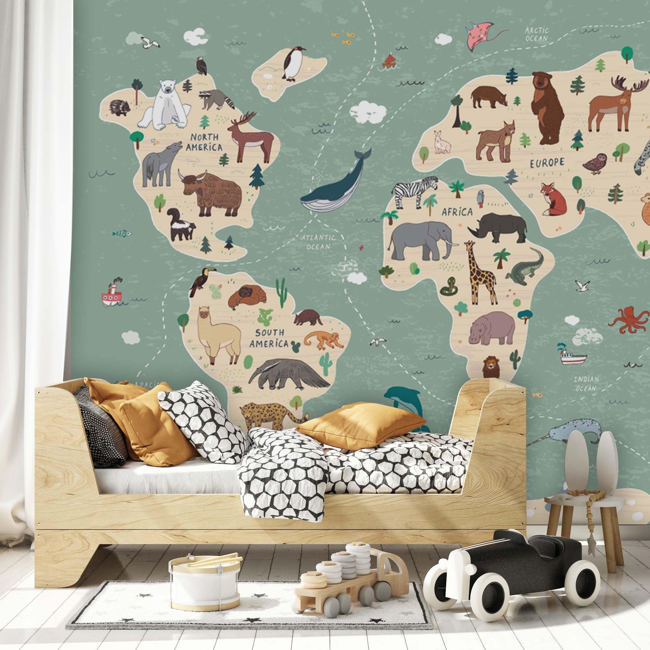 Children World Maps Animals And Plants Background Wallpaper Etsy Kids Room Murals Home Decor Wall Art Animal Bedroom