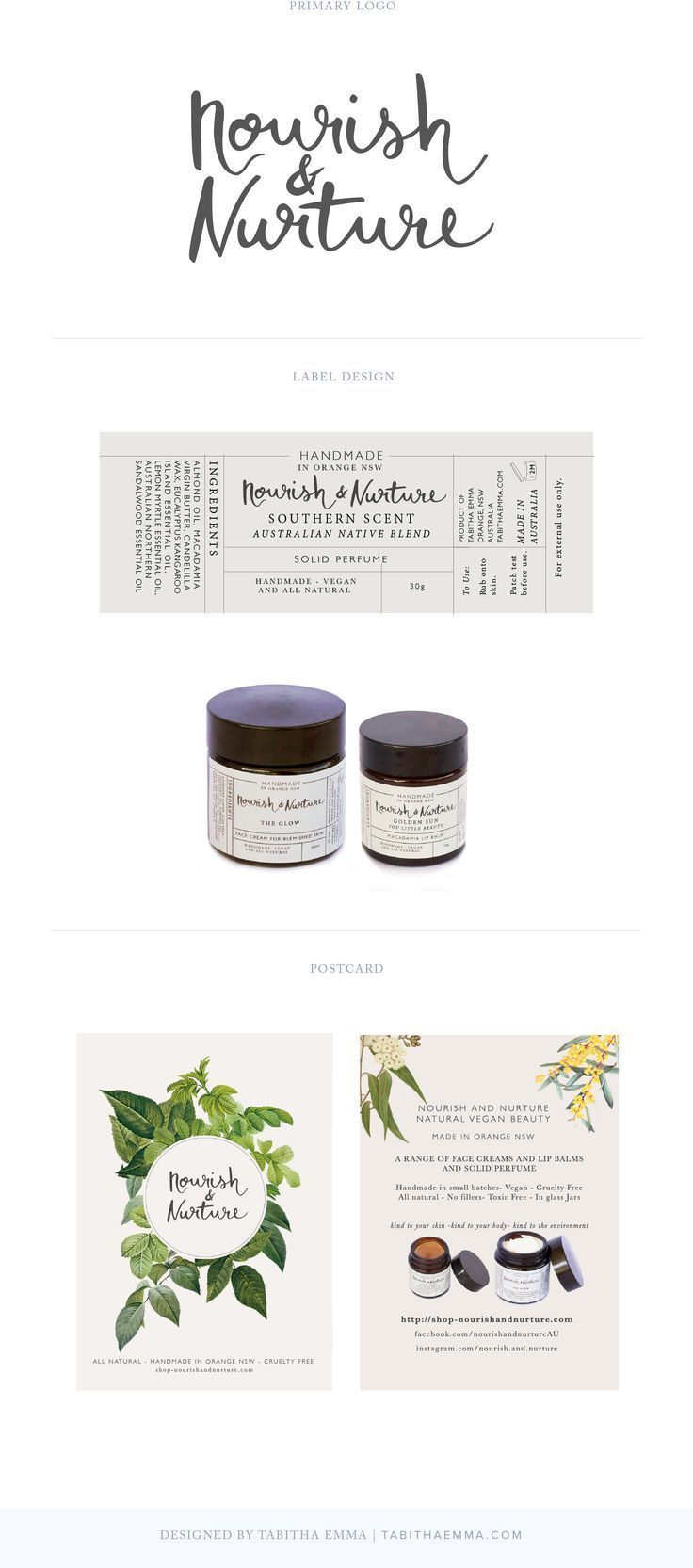 Nourish and Nurture- Natural Skincare label packaging design
