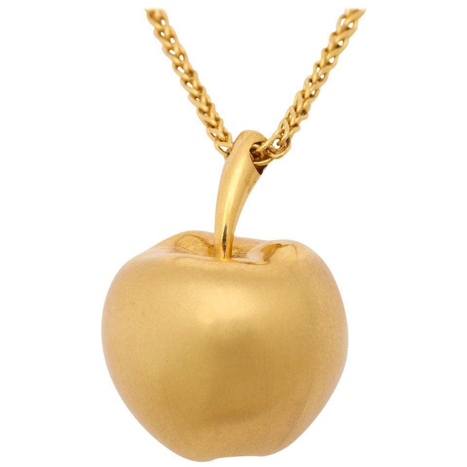 Long gold chain with apple pendant chains necklace chain and apples gold long gold chain with apple pendant aloadofball Gallery