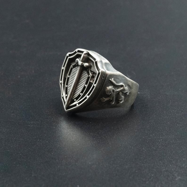 Personalize Custom Engrave Oxidized Finish Stainless Steel Celtic Sword Ring Men/'s Ring Sword Ring