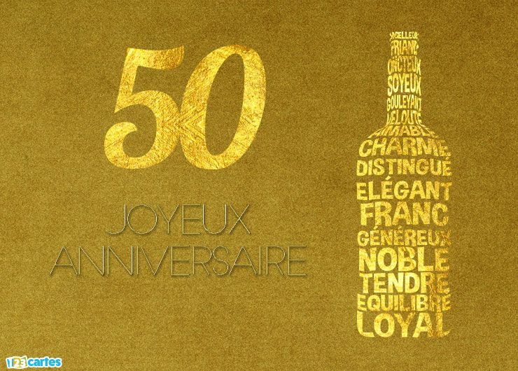Carte Joyeux Anniversaire 50 Ans Illustration Bouteille De
