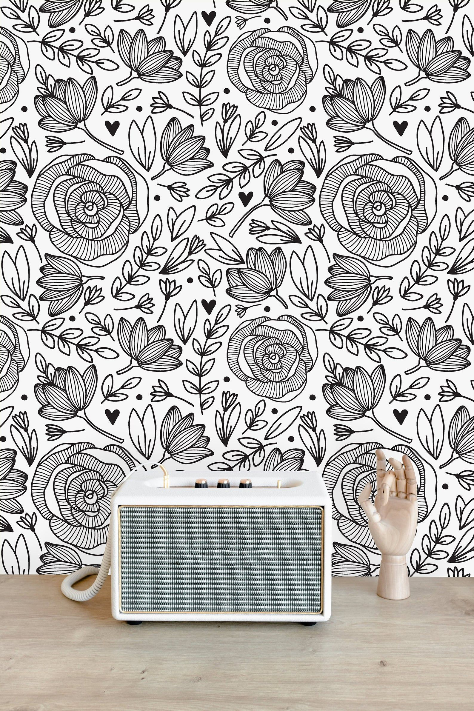 Black And White Floral Removable Wallpaper Peel And Stick Etsy Wall Wallpaper Wall Murals Peel And Stick Wallpaper