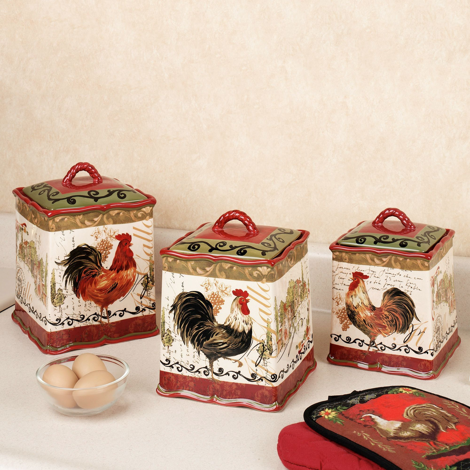 Certified international parisian fruit canister by susan winget set -  92 99 Tuscan Rooster Canister Set Multi Warm Set Of Three