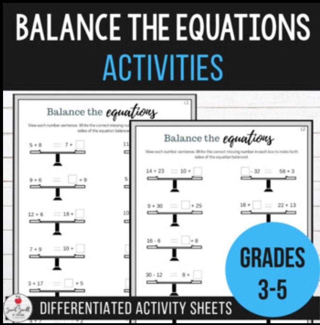 Balancing Equations Equivalent Number Sentence