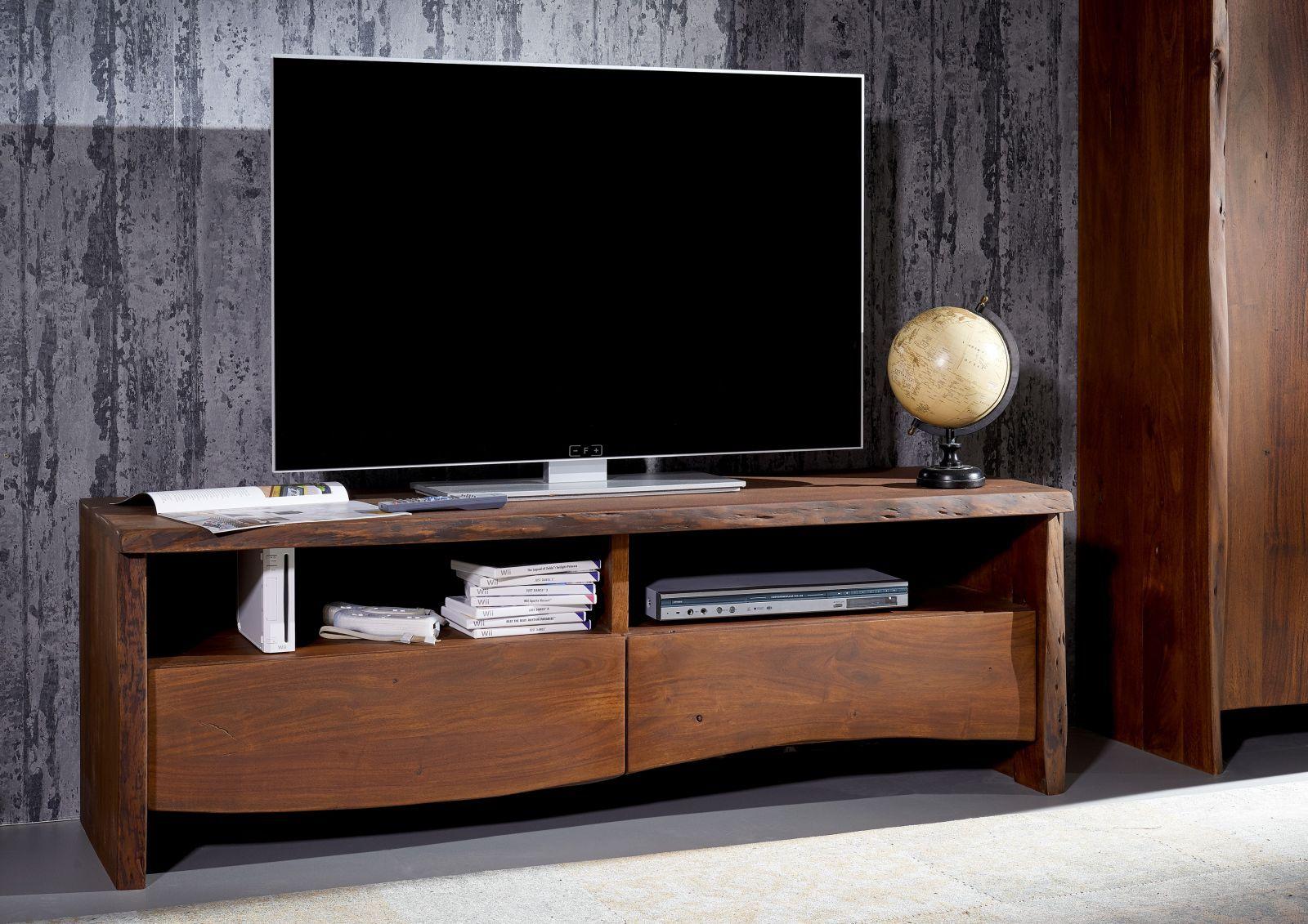 Tv Board Akazie 151x45x50 Braun Lackiert Live Edge 208 Tv Mobel Weiss Tv Hifi Mobel Wohnen