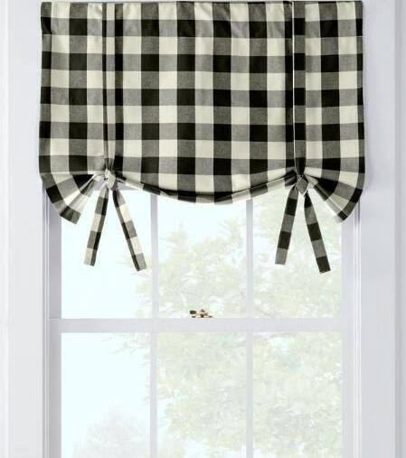 Black And White Buffalo Check Valance Kitchen Curtains And Valances Trendy Farmhouse Kitchen Country Kitchen Curtains