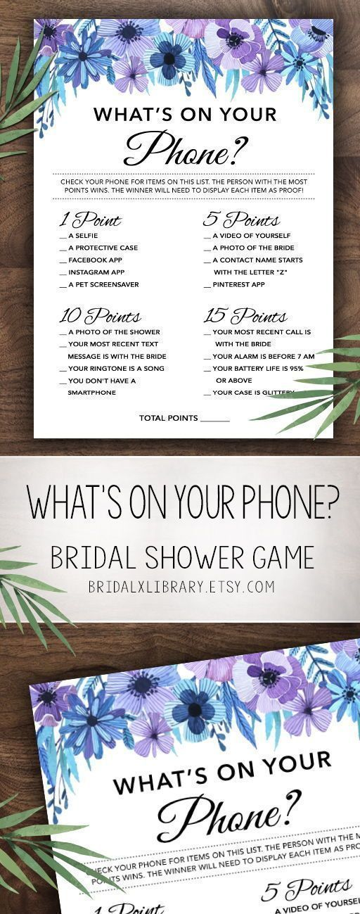 Whats On Your Phone, Bridal Shower Games Printables, Bridal Shower Game, Bridal Shower Instant Download, Wedding Game, Watercolor Flowers
