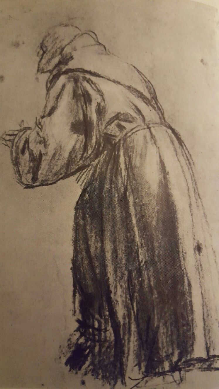 St Bernardino Charcoal Raised And White Chalk On Blue Paper