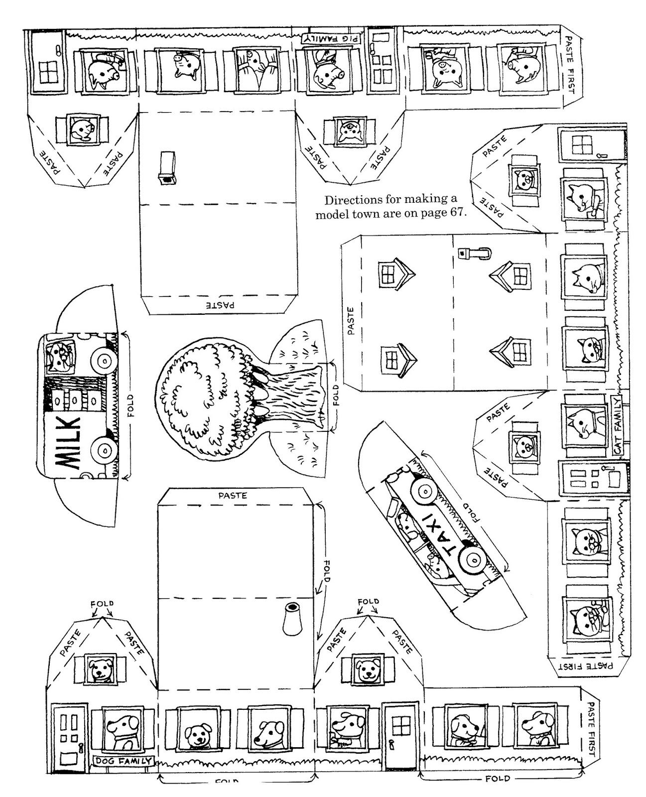 Making a model town by richard scarry 1990 richard scarry for Richard scarry coloring pages