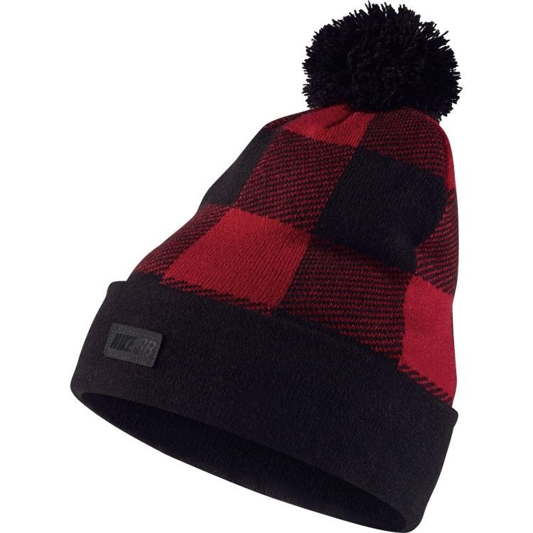 Nike Men s SB Buffalo Plaid Printed Pom Knit Hat Red Black Classic Beanie   Nike  Beanie 51ba786317f