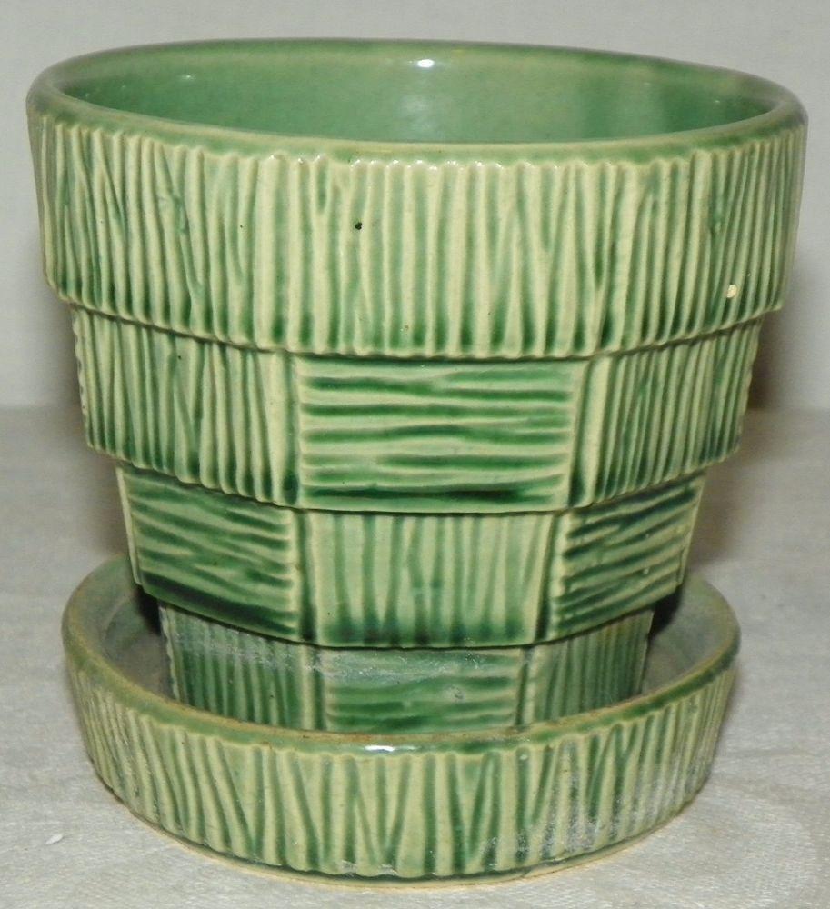 vtg mccoy flower pot planter green block basket weave with attached