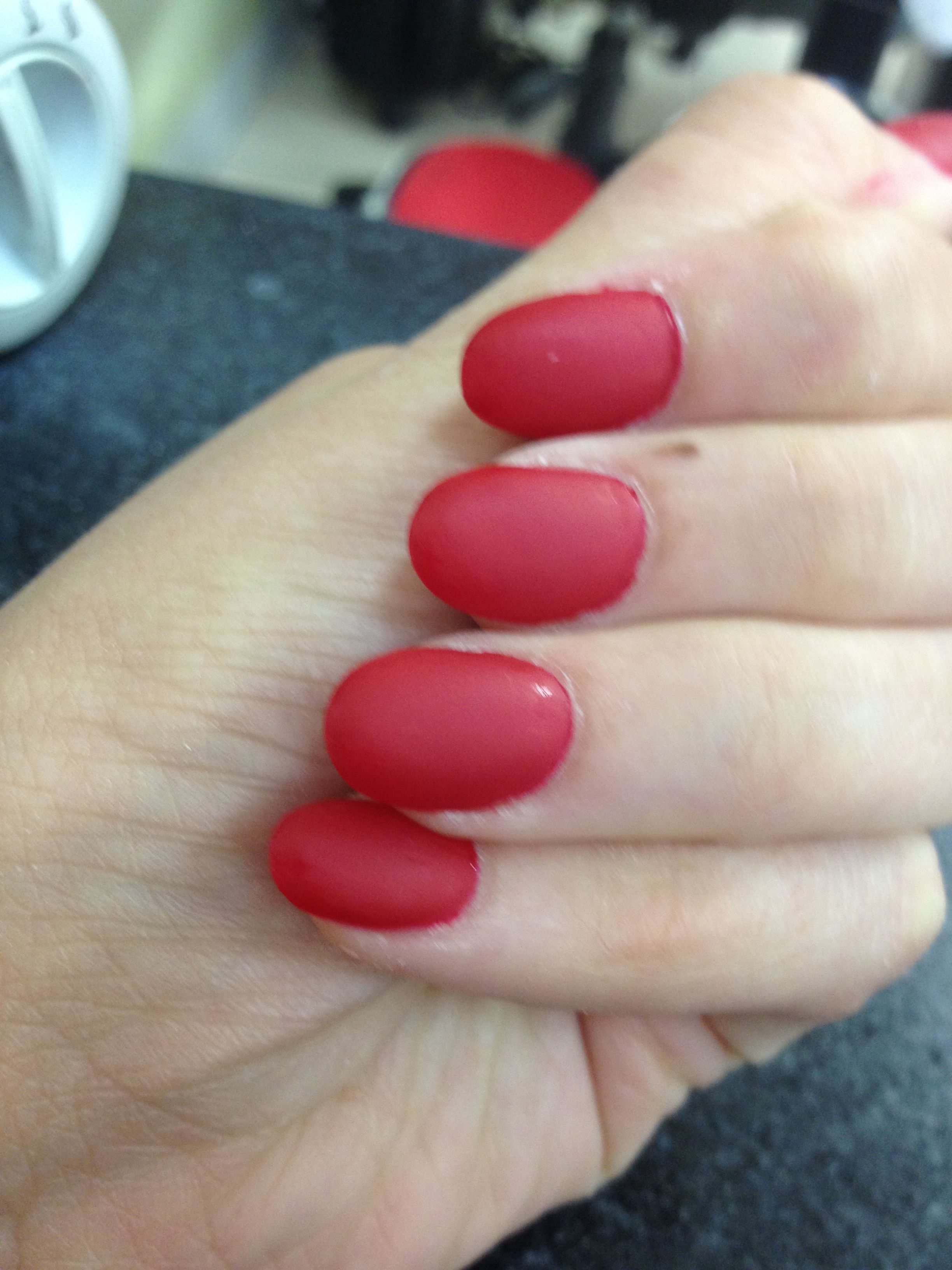 My new almond shaped red matte nails | Nails | Pinterest | Red matte ...