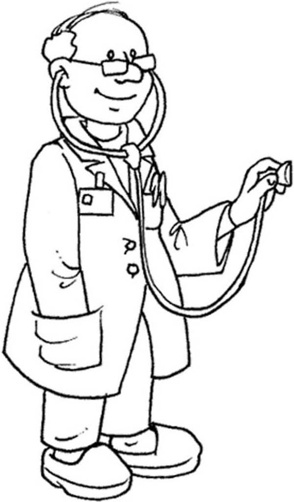 Expert Doctor And His Stethoscope Coloring Page Coloring Sun Coloring Pages Coloring Books Doctor Picture