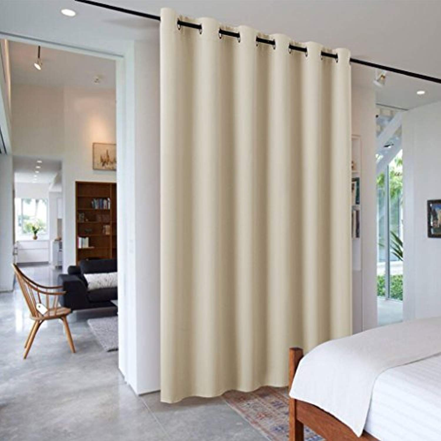 Portable Blackout Decorative Room Divider Ryb Home Extra Long Wide Privacy Shared Curtain For Wor Room Divider Curtain Modern Room Divider Room Divider Walls