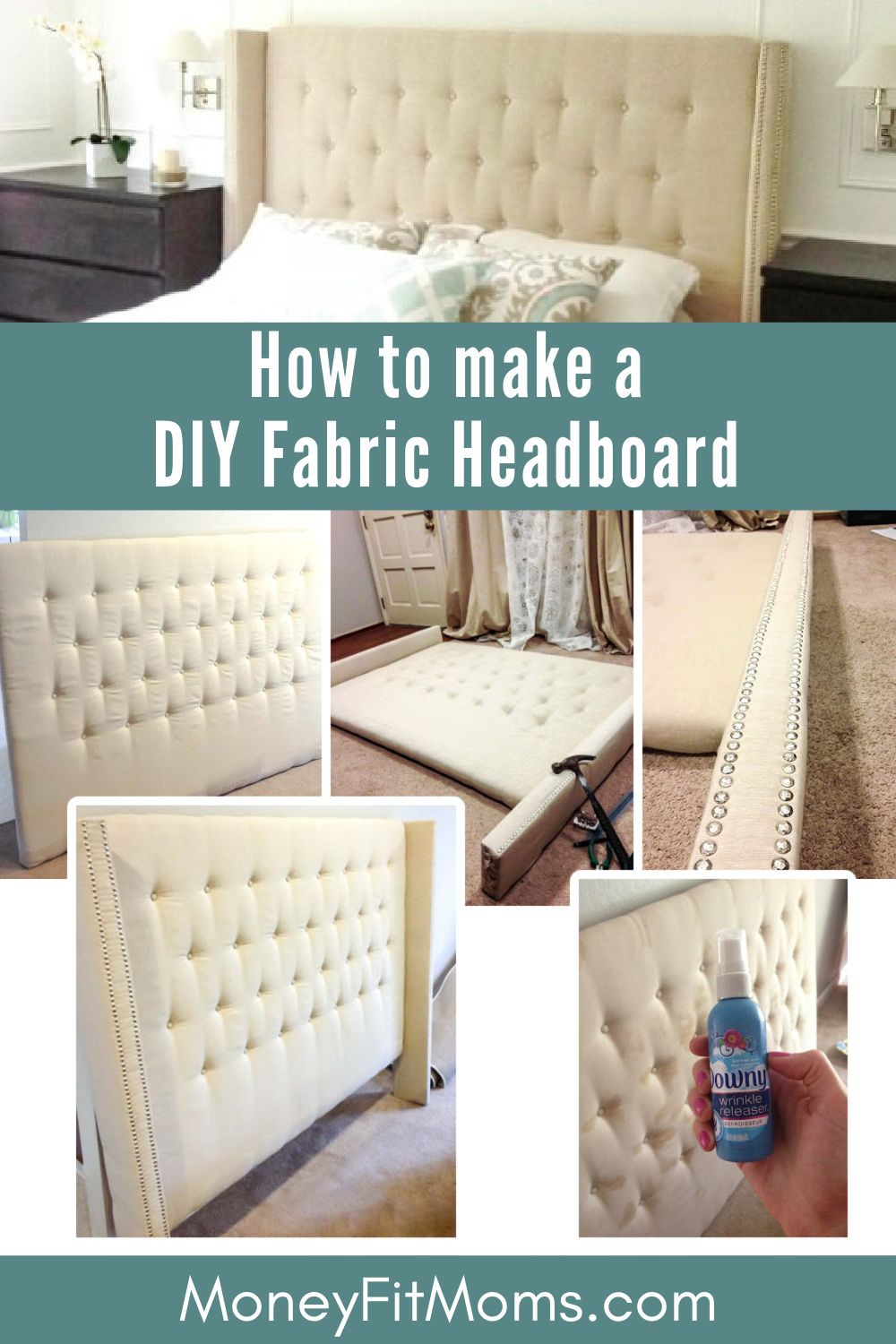 How To Make A Diy Fabric Headboard With Buttons And Nailhead Arms In 2021 Diy Headboard Upholstered Diy Bed Headboard Upholstered Headboard