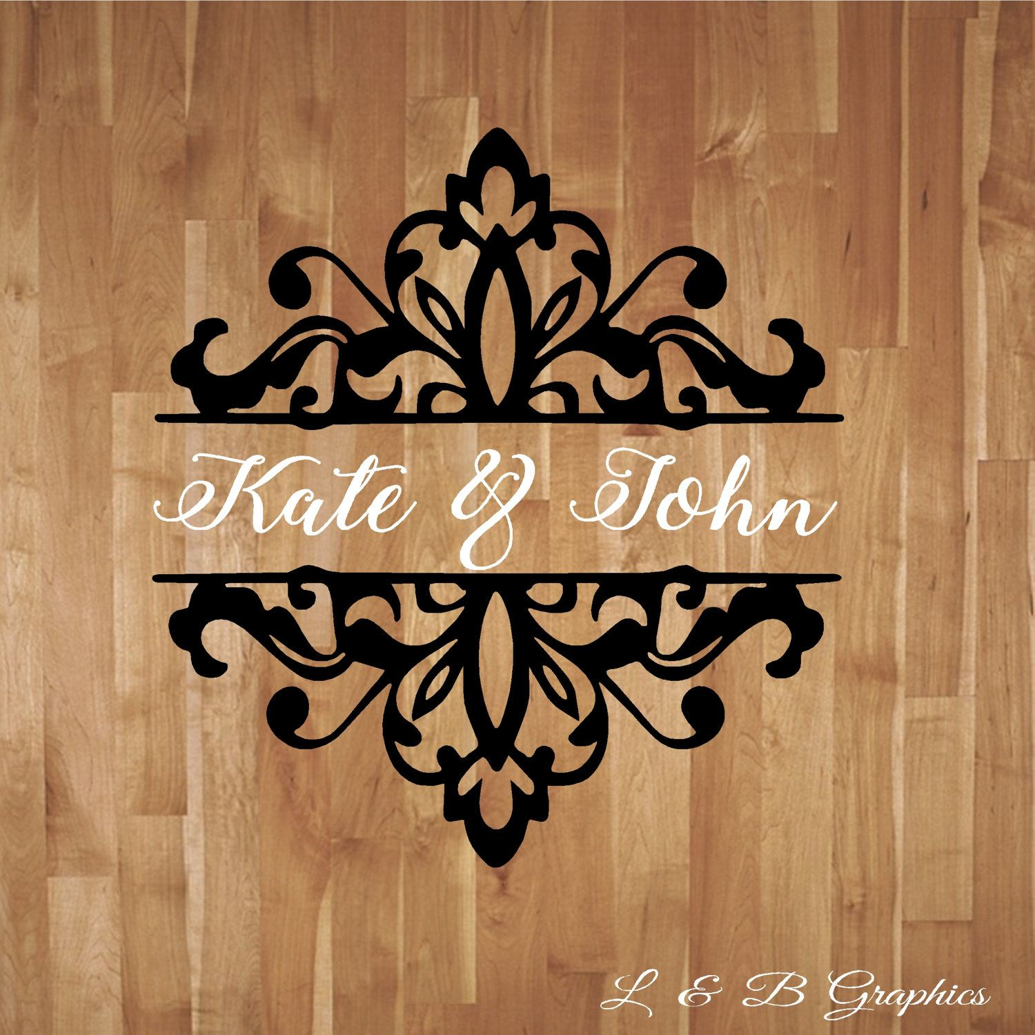 Wedding Damask Personalized With Names Dance Floor Decal Reception - Custom vinyl wall decals dance