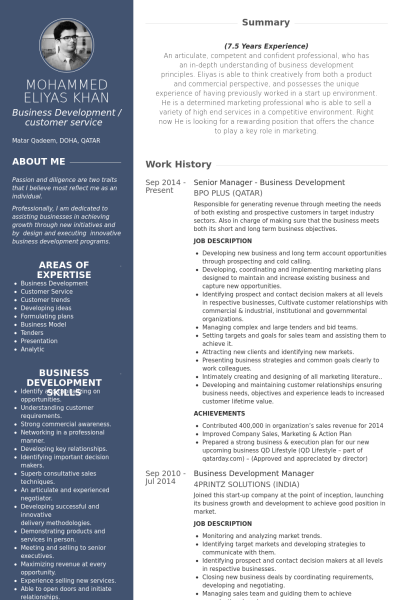 Senior Manager  Business Development Resume Example  Resume And