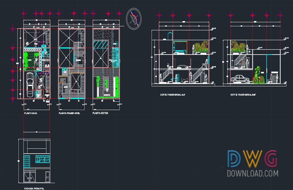 American House Autocad Project Dwgdownload Com With Images