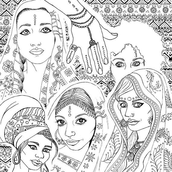 india coloring pages for adults | Coloring Book for Adults | Indian & African Fashion ...