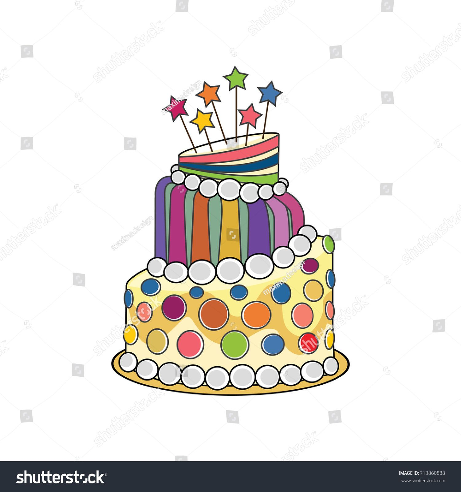 Cute birthday cake with stars vector illustration FOR SALE