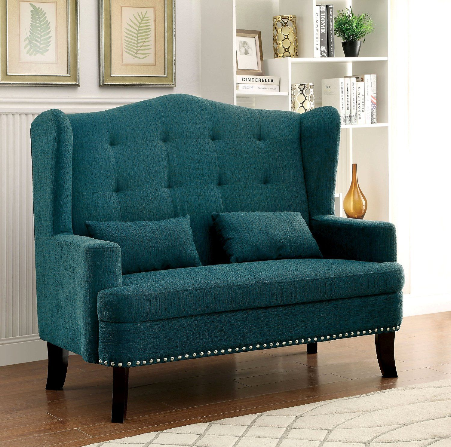 Furniture of America Setubal Wing Back Upholstered Love Seat