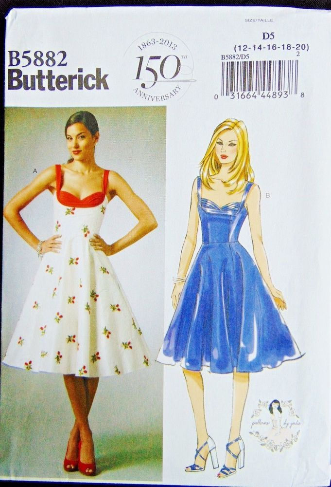 Butterick Pattern 5882 Misses Retro Pin Up Rockabilly Dress By ...