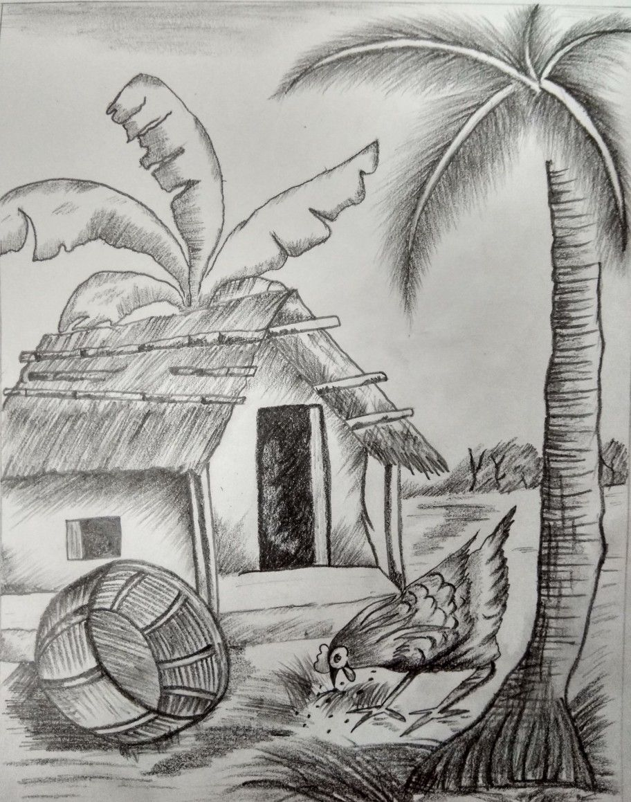 Village scene in 2019 village scene drawing village