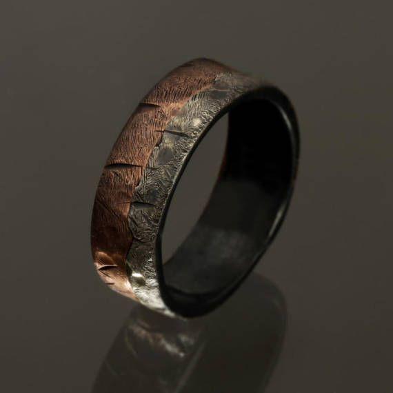 Rustic Men S Ring Unique Engagement Ring Men S Ring Two Tone