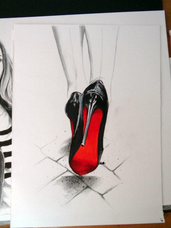 Louboutin Art Fashion Illustration Fashion Print Christian Louboutin Wall Art Print Titled Dev Illustration De Mode Dessin De Mode Dessin Pastel