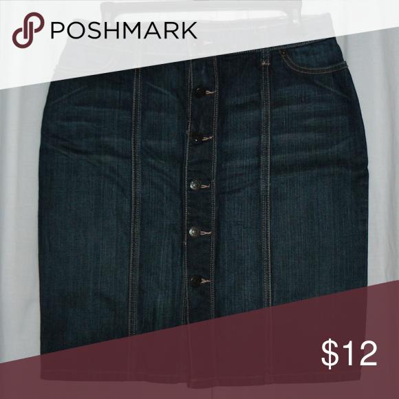 BANANA REPUBLIC Denim Button-Front Pencil Skirt