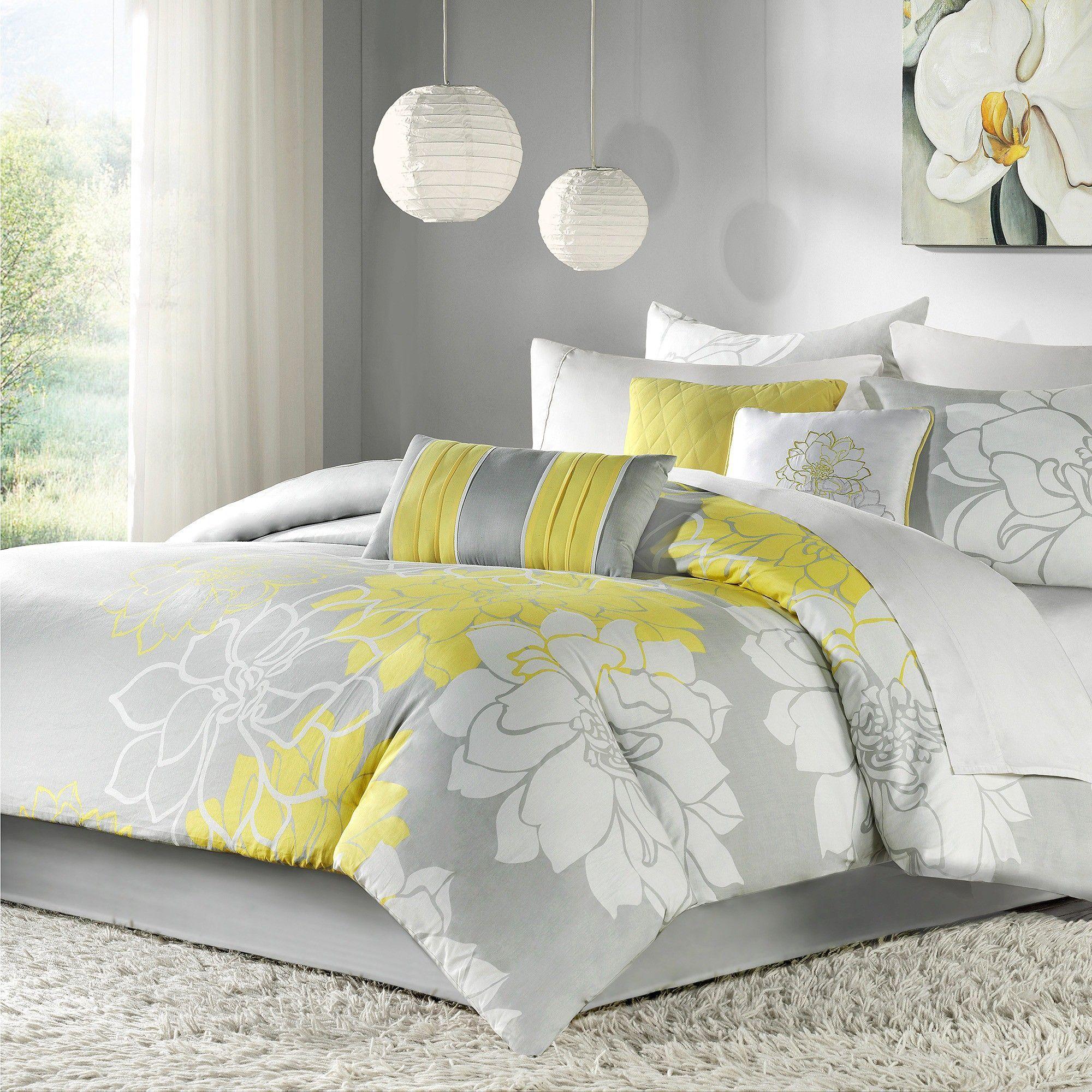 Brianna 7 Piece Print Comforter Set Gray Yellow California King