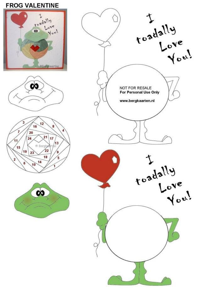 Iris Fold: Frog Valentine