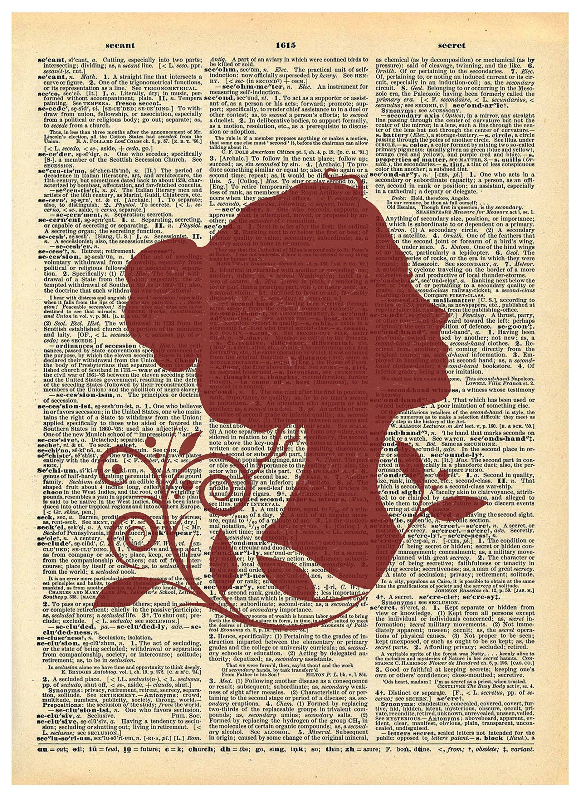 Female outline rose vines vintage dictionary print x inch home