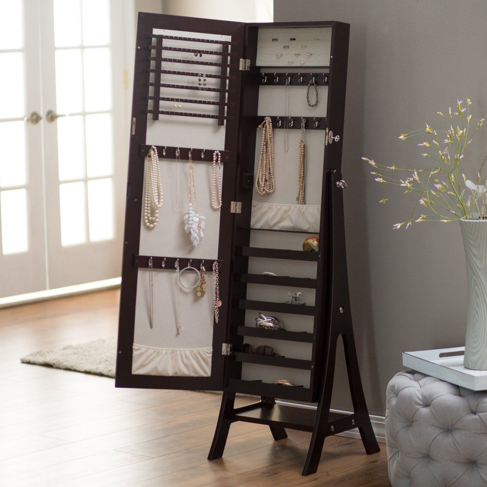 Belham Living Large Standing Mirror Locking Cheval Jewelry Armoire