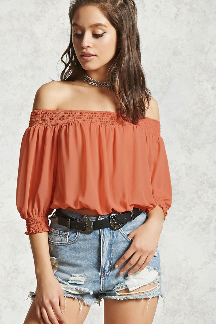 c908baa4dab Smocked Off-the-Shoulder Top | Forever 21 - 2000224638 | Wishlist ...