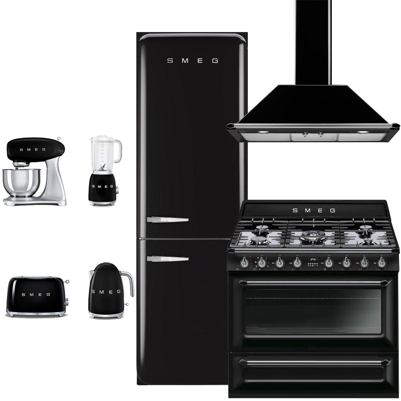 smeg smg7pcfsbfdfwmbkkit1 7 piece black kitchen package with fab32rnen1 24 bottom freeze on kitchen appliances id=68922