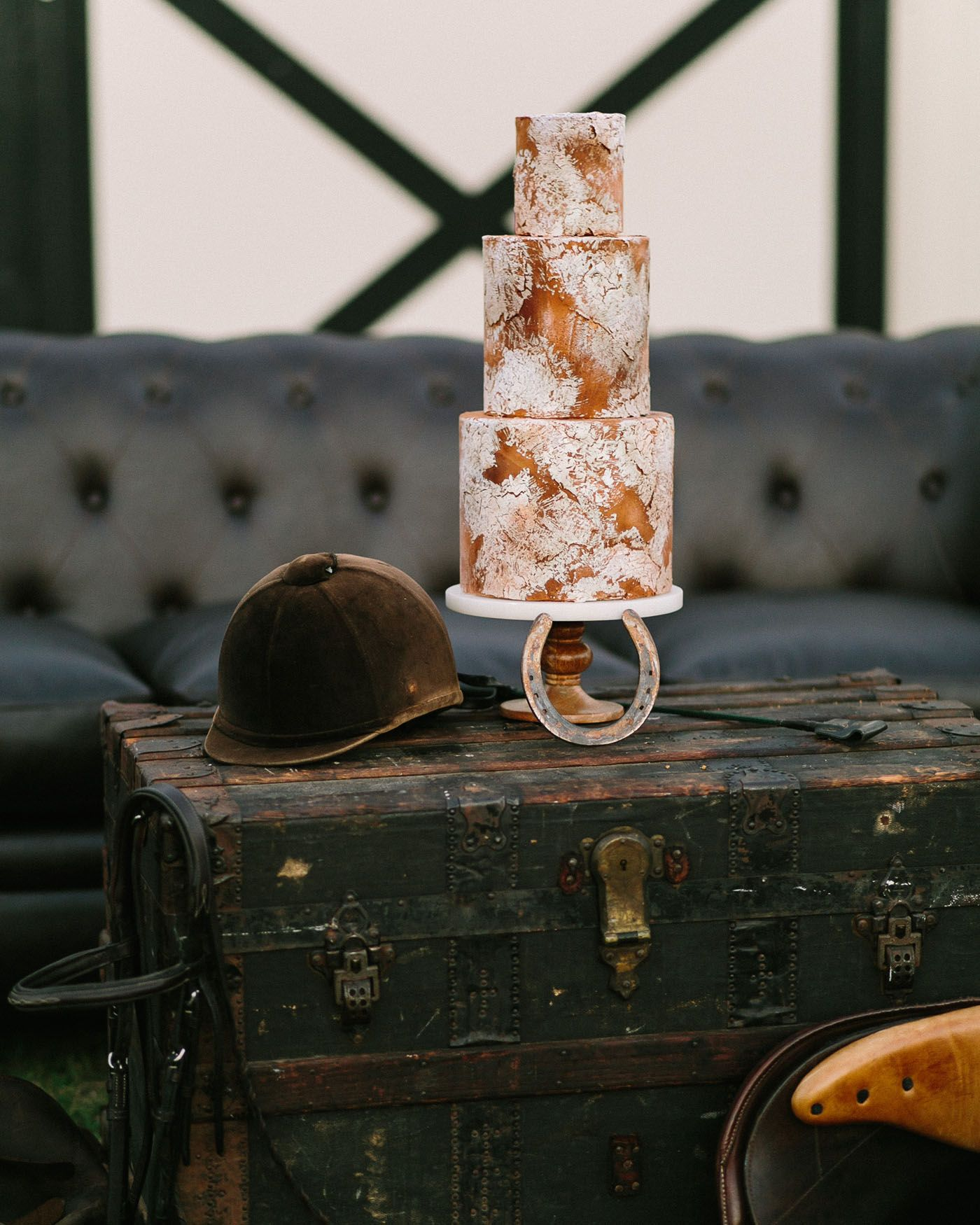 fae0a55cac Rustic Equestrian Inspired Wedding Cake with Copper Details