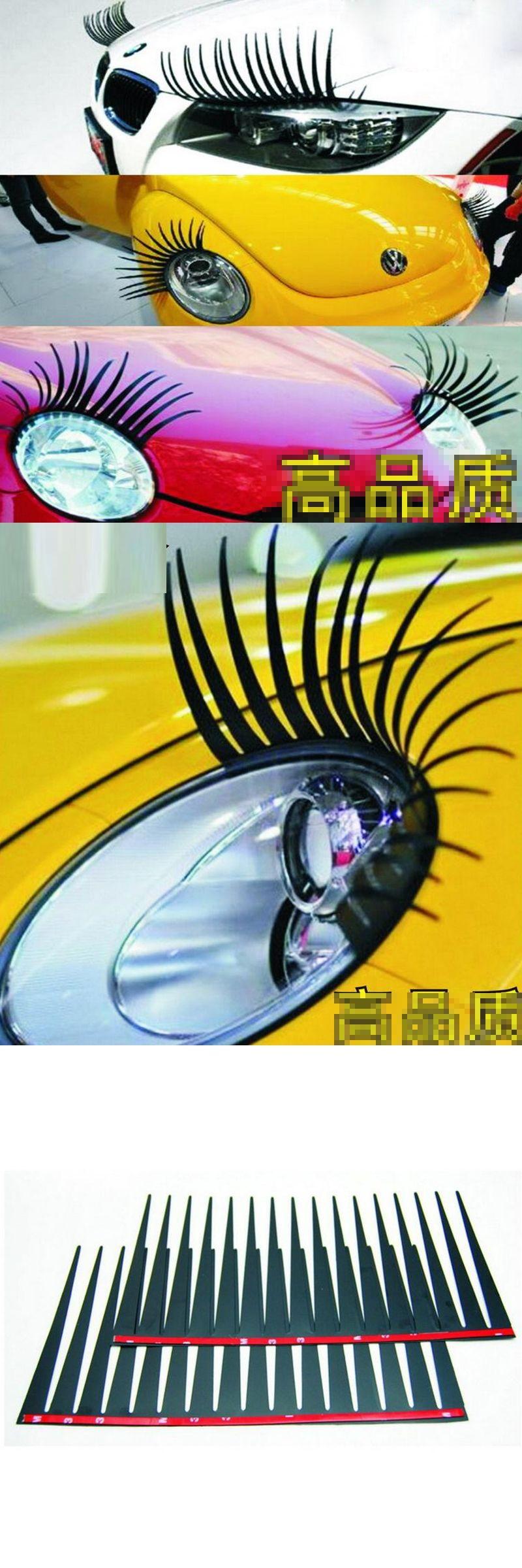 2pcs 3d Charming Car Black False Eyelashes Car Headlight Decoration