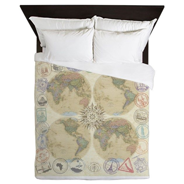 Globe Passport Stamp Queen Duvet By World Travelers