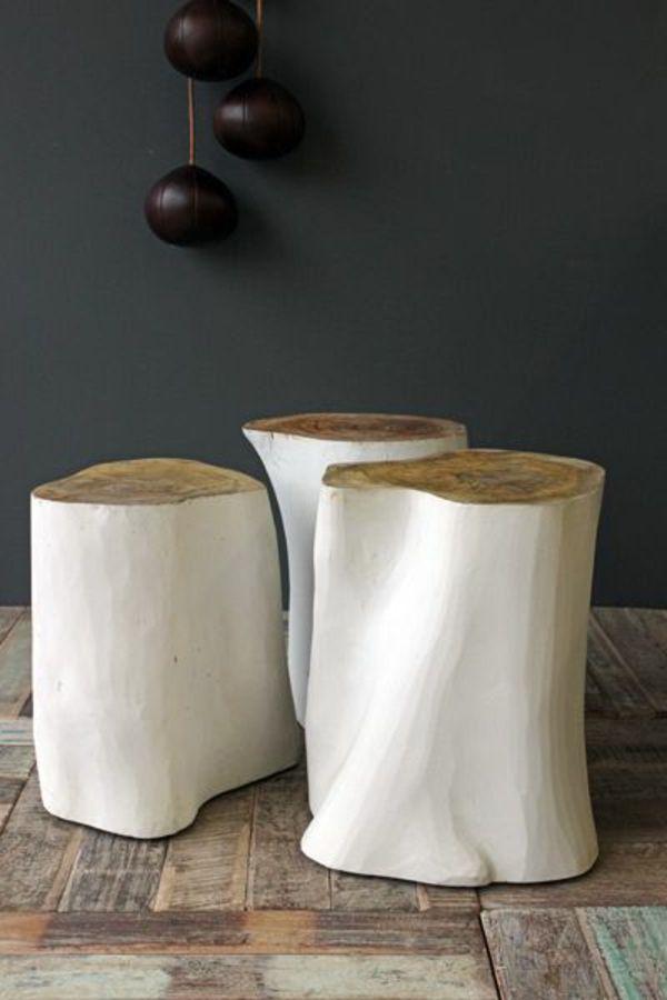 Schön Baumstamm Weiß Massivholz Couchtische Glanz