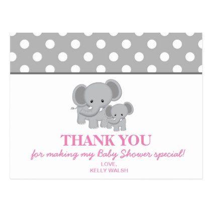 Elephant Baby Shower Thank You Note Polka Dots Postcard  Elephant