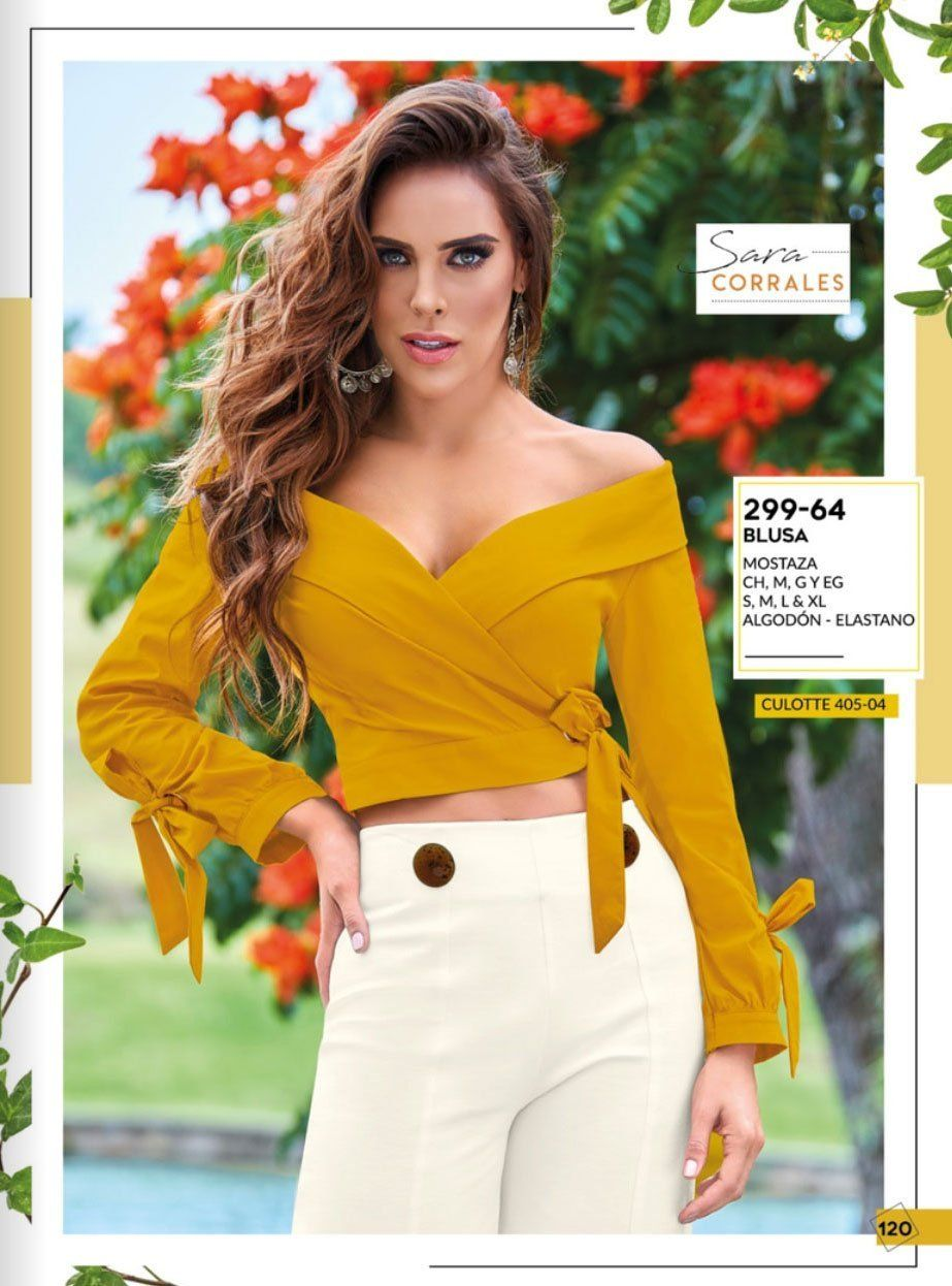 299 64 Ropa Dama Cklass Catalogo Dama Fashion Line Pv19 120 Mostaza Fashion Tops Women S Top